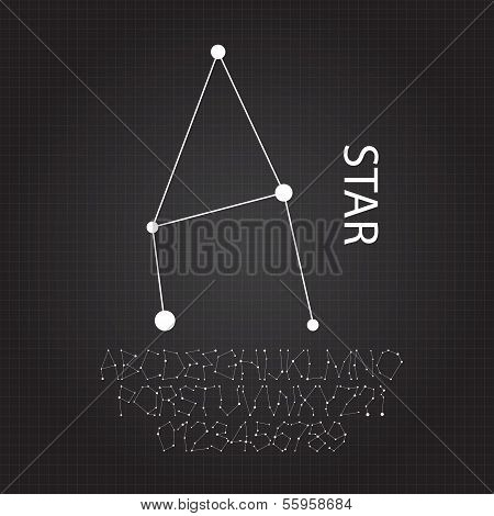 Star Celestial Alphabet And Numbers Vector