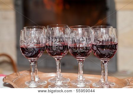Close up of Red wine in Cristal glasses