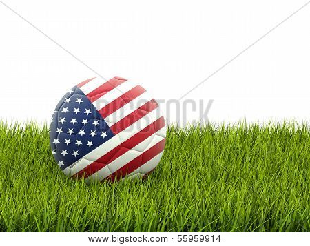 Football With Flag Of United States Of America