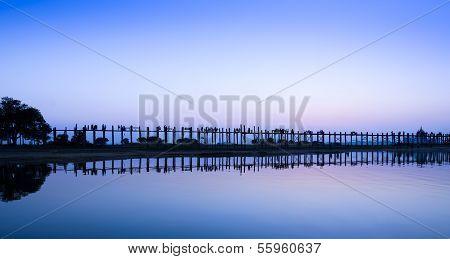 U Bein Bridge At Twilight, Myanmar
