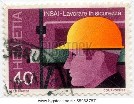 Stamp from switzland safety at work