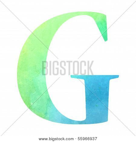 Watercolor blue-green colored alphabet.