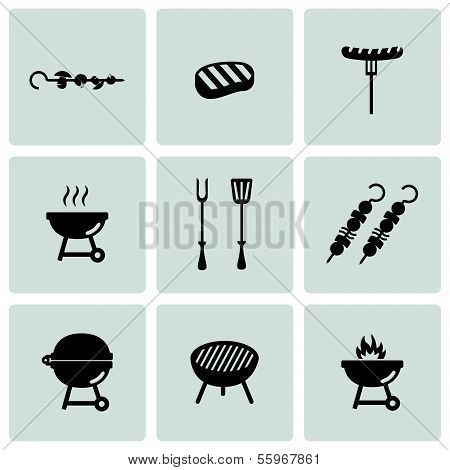 Vector black barbecue icons set