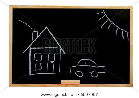 Blackboard With House Drawing