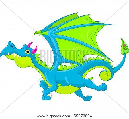 Illustration of Cute Cartoon  dragon flaying. Raster version.