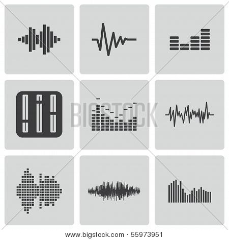 Vektor schwarz Musik-Soundwave-Icons set
