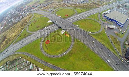 Schelkovskaya interchange MKAD in Moscow, Russia. View from unmanned quadrocopter