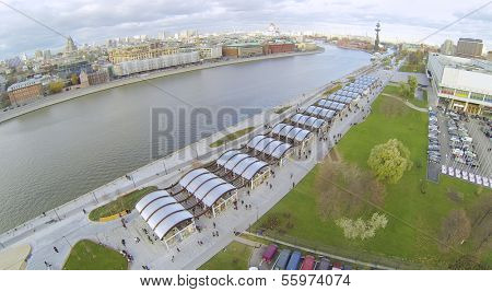 Embankment of the Moskva River and Central House of Artists in Moscow, Russia. View from unmanned quadrocopter