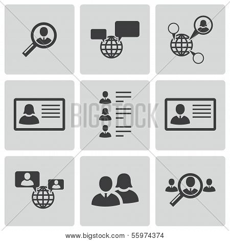 Vector black people search icons set