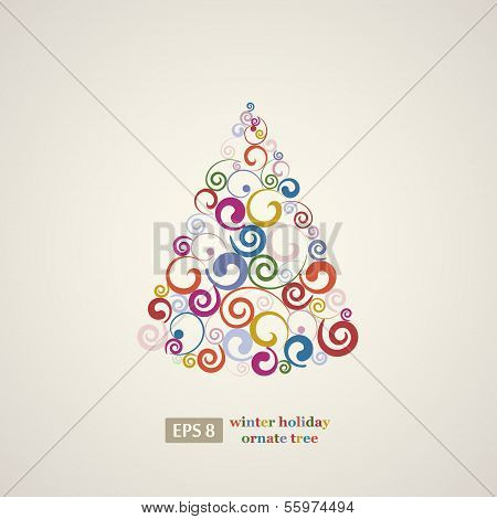 Winter holidays decoration swirls tree.