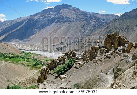Panorama Od Dhankar Village And Gompa With High Himalays And River Valley In Background In Spiti Val