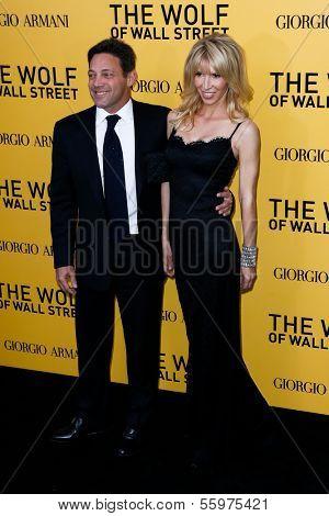 NEW YORK-DEC 17: Writer Jordan Belfort and fiancee Anne Koppe attend the premiere of
