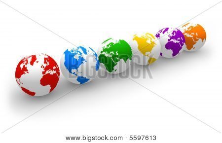 Row of color globes