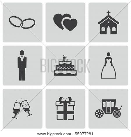 Vector black wedding icons set