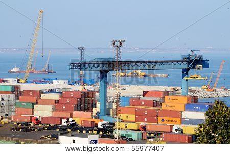 Container terminal at Odessa sea port ,Ukraine