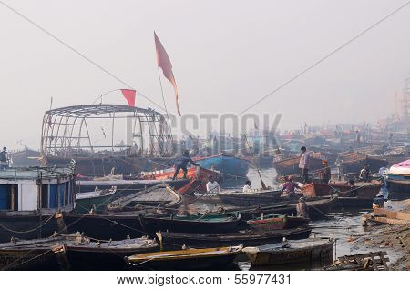 Early Morning At Tulsi Ghat In Holy Ganges,India
