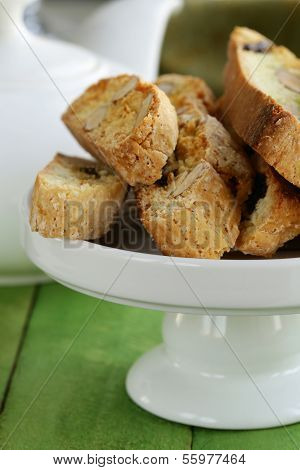 traditional Italian biscotti cookies (cantucci) on a wooden table