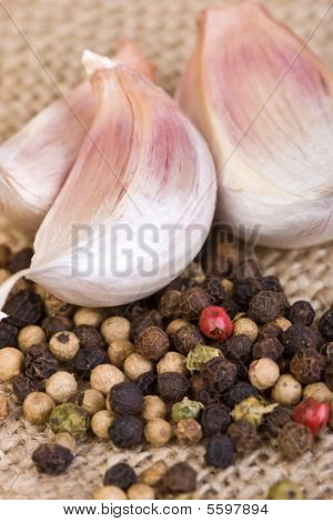 Peppercorns And Garlic