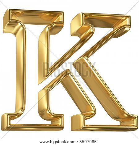 Hollow noble letter K with golden glossy outline