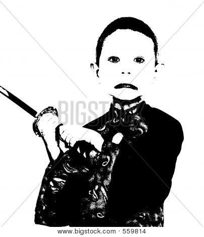 Young Monochrome Samurai