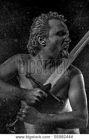 Wild Warrior with huge metal sword