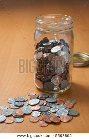 Saving Coins In A Jar