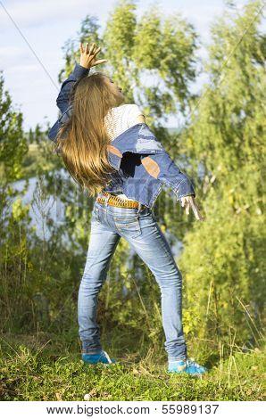 nice teenage girl dancing