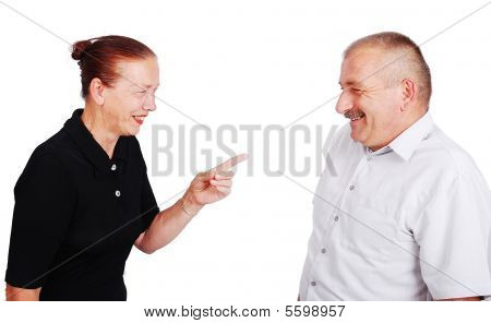 Senior Couple In White Isolated Background