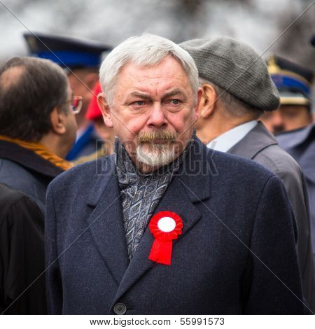 KRAKOW, POLAND - NOV 11: Prof. Jacek Majchrowski is Mayor of the Royal Capital City of Krakow since 2002, during the celebration of National Independence Day, Nov 11, 2013 in Krakow, Poland.