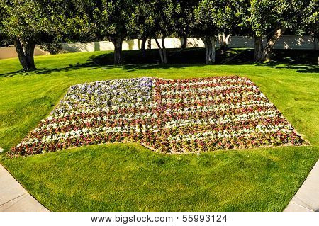 American Flag Made Of Colorful Flowers