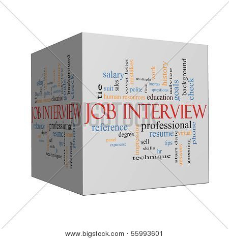 Job Interview Word Cloud Concept On A Cube