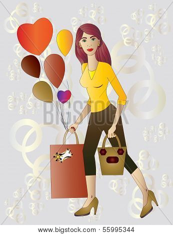 Beautiful young woman with gift and balloons.