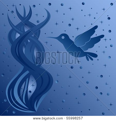 Phantasmagoric Composition With Bird On Starry Sky Background