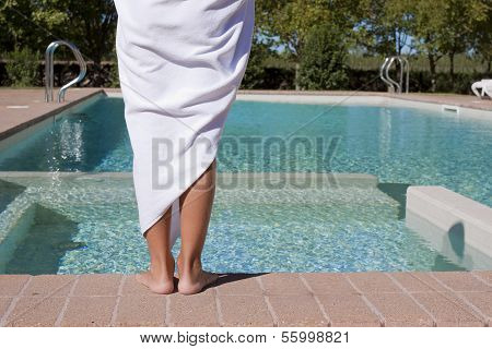 Person Next To Swimming Pool