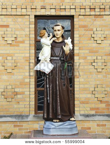 Statue of Saint Bernard in the front of Church of Saint Bernard in Brooklyn, NY