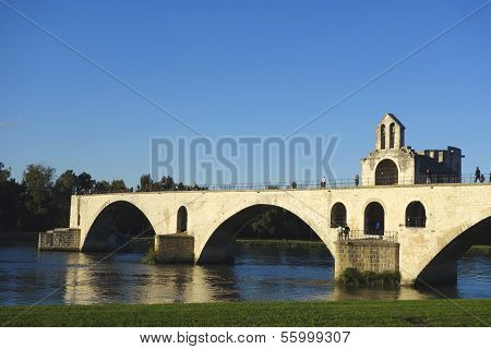 The Pont Saint-Benezet or the Pont d'Avignon in Avignon, France