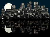 image of moonlit  - Vector card of stylized big city with downtown and skyscrapers at moonlit night with reflection - JPG
