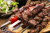 stock photo of red meat  - lamb kebab - JPG