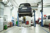 stock photo of chassis  - Image of a car repair garage - JPG