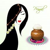 stock photo of rangoli  - Illustration of a beautiful woman with pongal rice in a traditional mud pot on floral design called rangoli on occasion of Happy Pongal - JPG