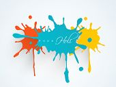 foto of holi  - Indian color festival Holi background with colorful splash and stylish text Holi on blue background - JPG