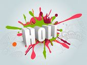 Indian color festival Holi celebration concept with stylish 3D text Holi on grungy colours splash ba