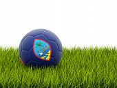 stock photo of guam  - Football with flag of guam on green grass - JPG