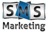 foto of sms  - SMS letters on three blocks and SMS marketing text under it - JPG