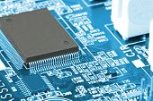 stock photo of microchips  - A large electronic card with the chips and other component - JPG