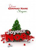 3D rendering of a Christmas d�?�?�?�©cor, with the words happy Christmas in French: Joyeux Noel