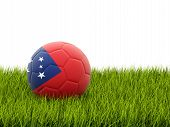 picture of samoa  - Football with flag of samoa on green grass - JPG