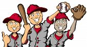 image of little-league  - Vector cartoon of a group of children ready to play baseball - JPG