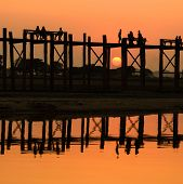 U Bein Bridge At Sunset , Myanmar