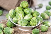 foto of brussels sprouts  - Fresh Brussel Sprouts (macro shot) on rustic background